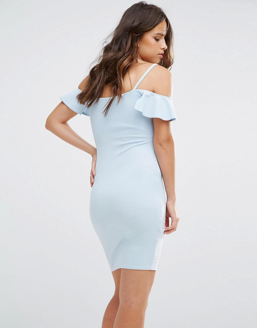 a6bb079967 Lipsy Bodycon Dress With Ruffle Detail in Blue - Lyst