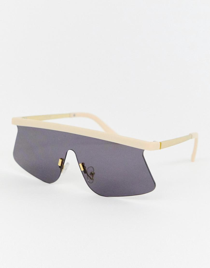 3e3d6e392684 ASOS Flared Flat Lens Visor Sunglasses in Natural - Lyst
