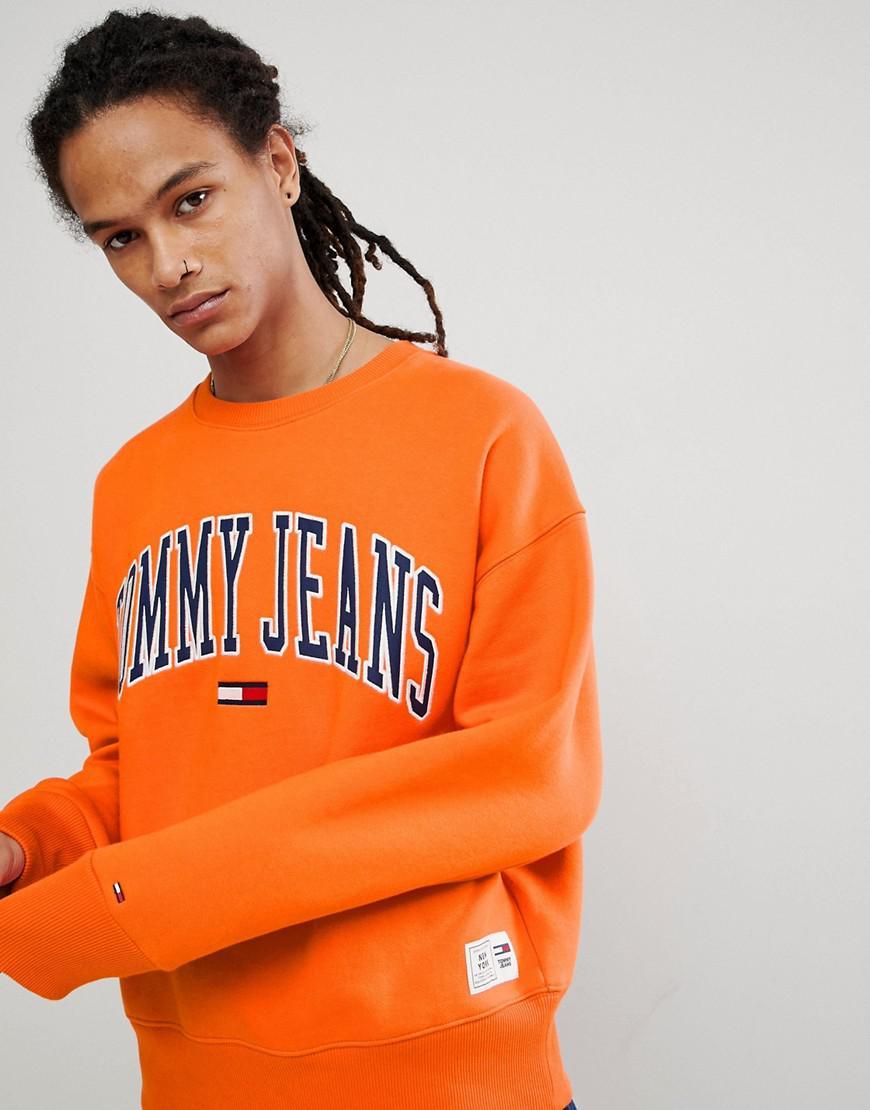 8bdf8480 Hilfiger Denim Tommy Jeans Collegiate Capsule Sweatshirt In Orange ...