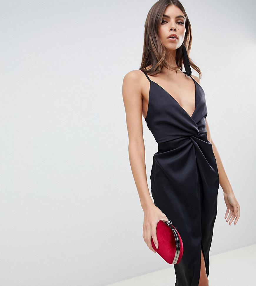 d09b375f77 Lyst - ASOS Midi Strappy Cami With Knot Front Plunge In Satin in Black