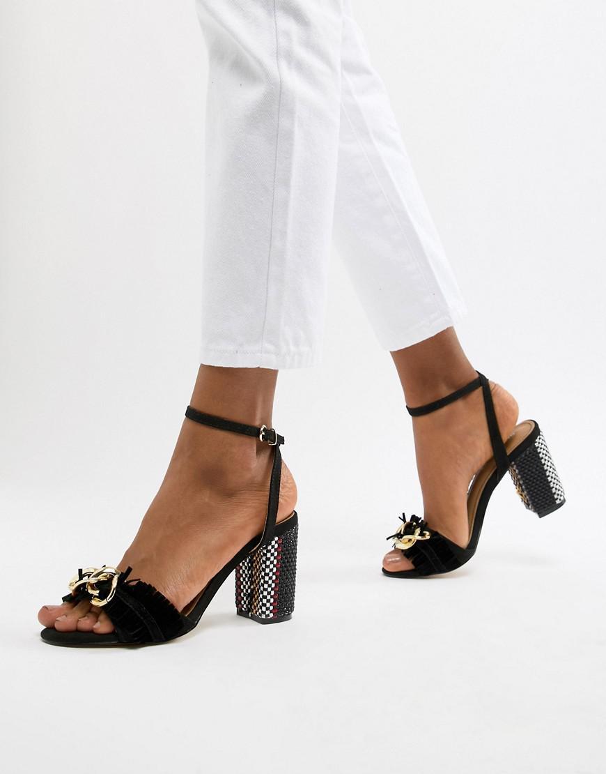 679636f7ac9 Glamorous Block Heel Metal Trim Sandals in Black - Lyst