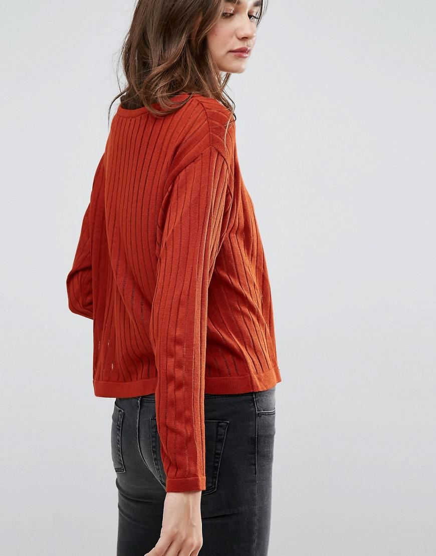 Asos Sweater In Ladder Stitch And Batwing Sleeves in Red | Lyst