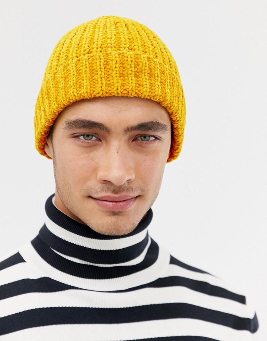 090a00c4514 Lyst - ASOS Fisherman Beanie In Chunky Mustard Chenille in Yellow ...