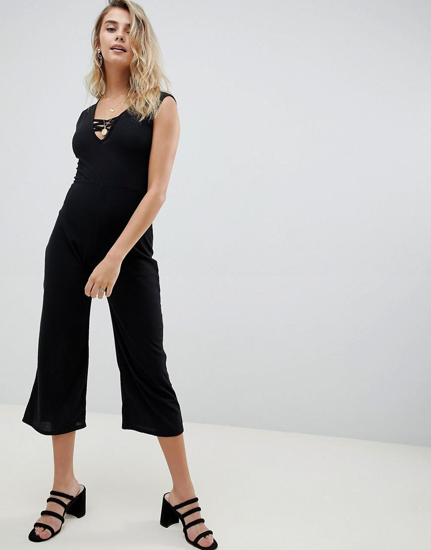 cd7b1c35c2b7 Lyst - Boohoo Ribbed Culotte Jumpsuit in Black
