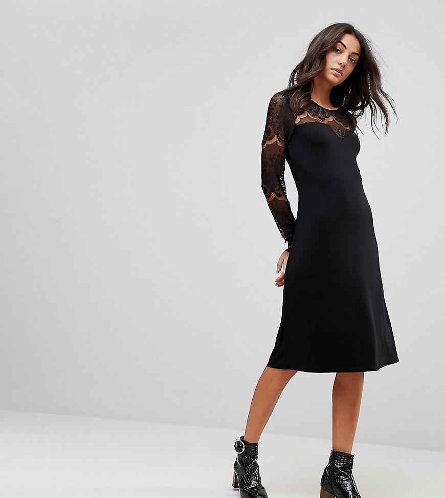 Ciccu Long Lace Sleeved Shift Dress - Black Y.A.S Op32a
