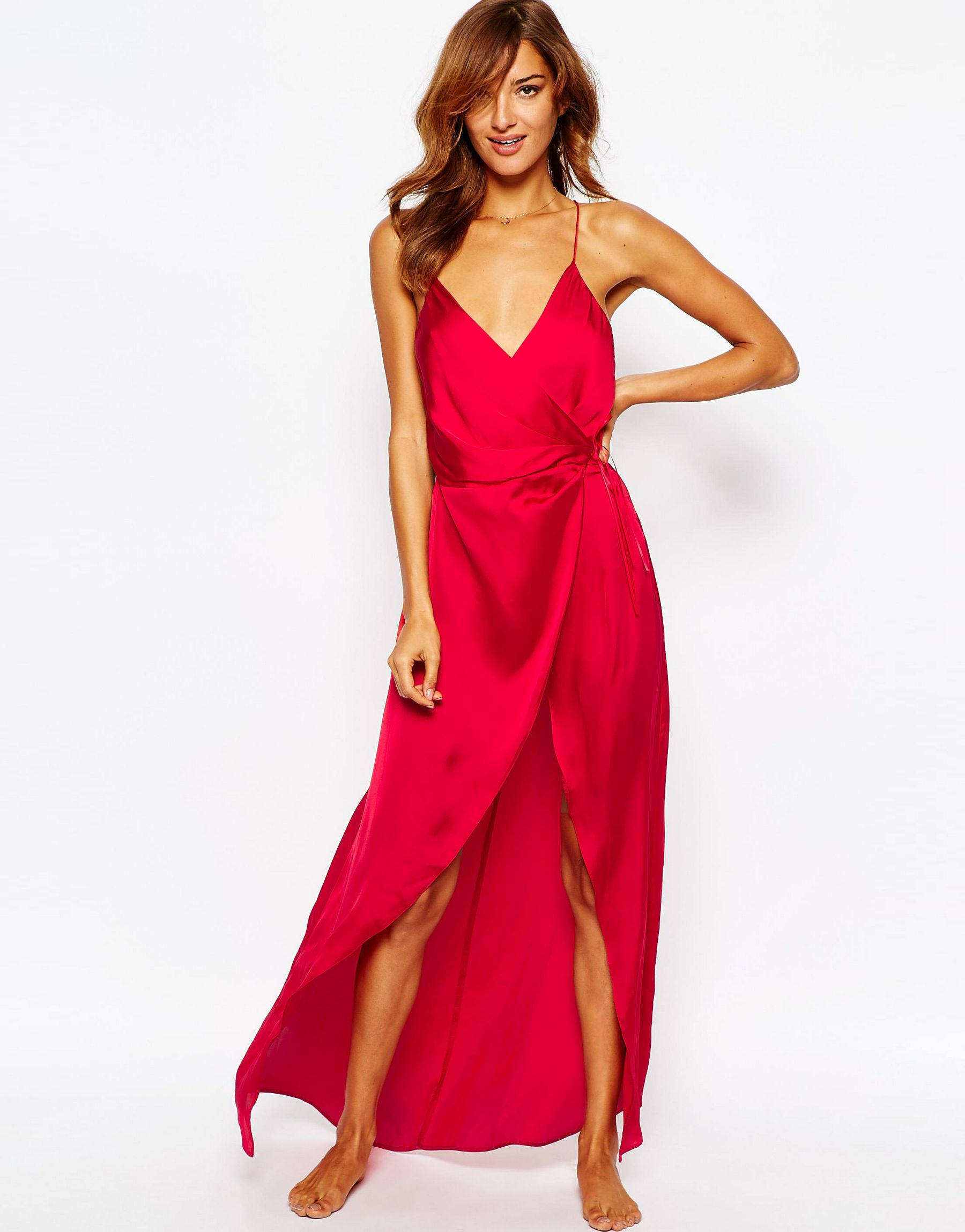 9a909bc69449e ASOS Ruched Side Satin Maxi Slip in Red - Lyst