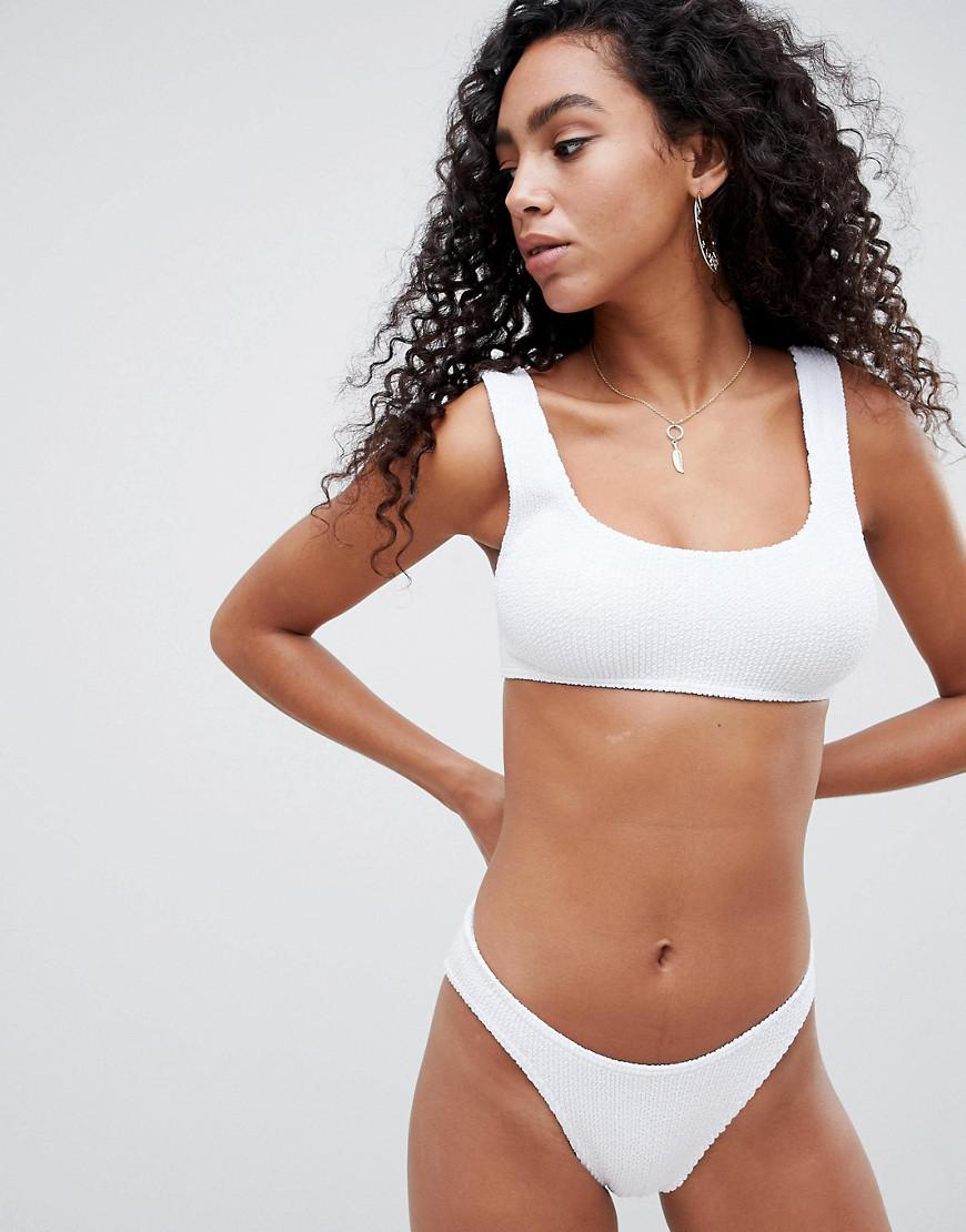 767dc273e74a8 Lyst - ASOS Mix And Match Crinkle Crop Bikini Top in White