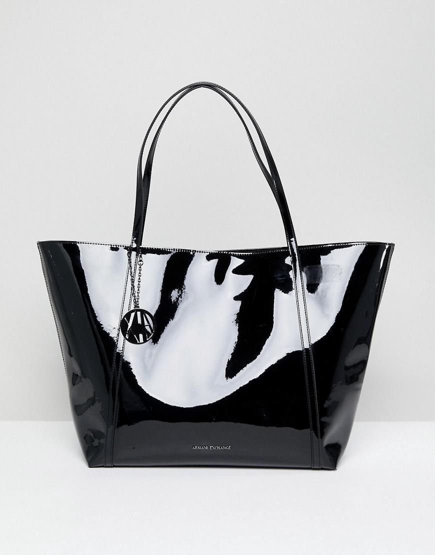 1e4dfc71683 Armani Exchange Black Patent Tote Bag in Black - Lyst