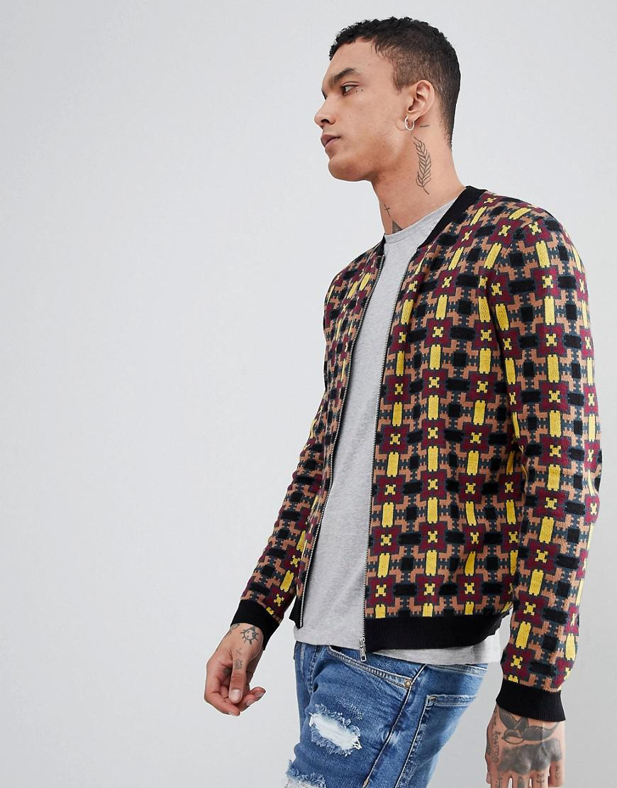 0b4b159931 ASOS Knitted Bomber Jacket With Geometric Design for Men - Lyst