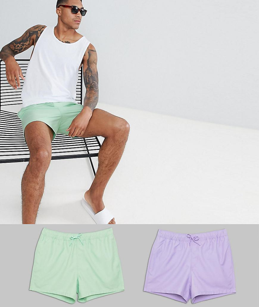0b51c275acc05 ASOS Swim Shorts In Green & Purple In Short Length 2 Pack Save for ...