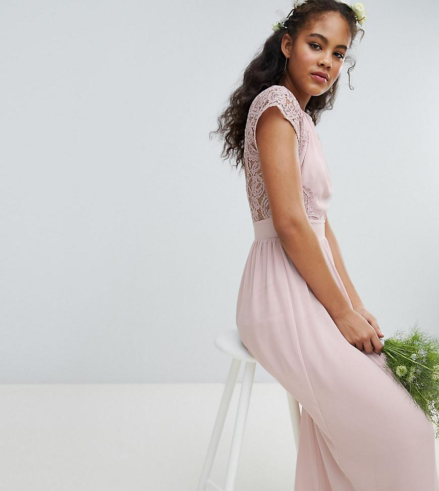5814c13941d7 Lyst - TFNC London Maxi Bridesmaid Dress With Scalloped Lace And ...