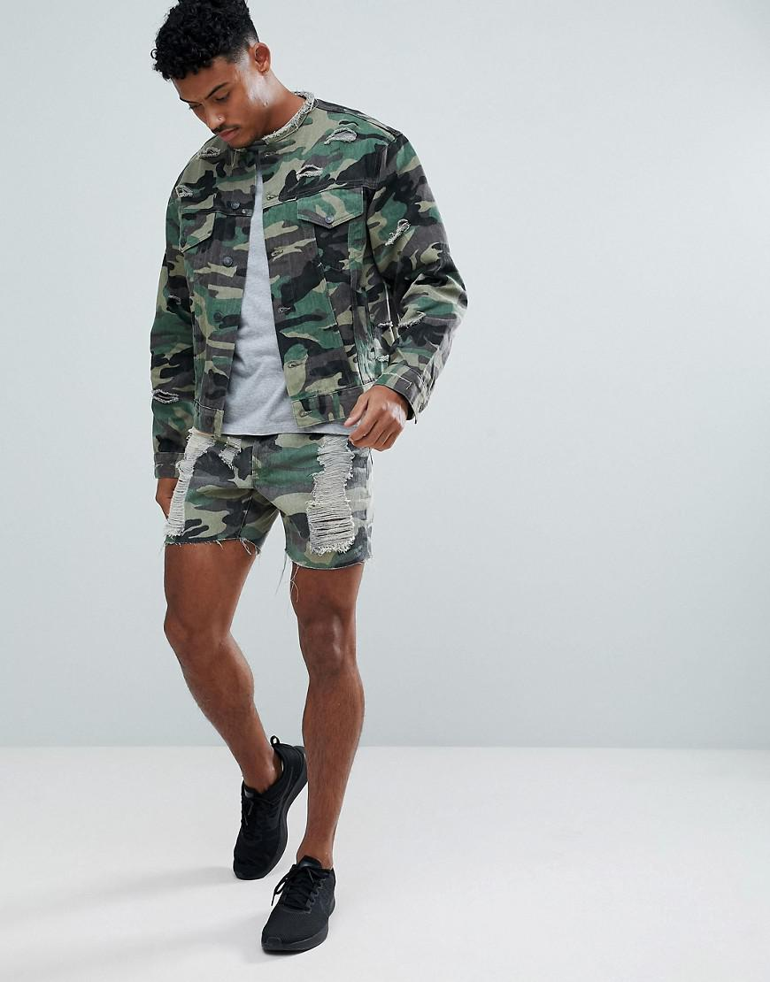 058c9d5fba Lyst - SIKSILK Collarless Muscle Denim Jacket In Camo With ...