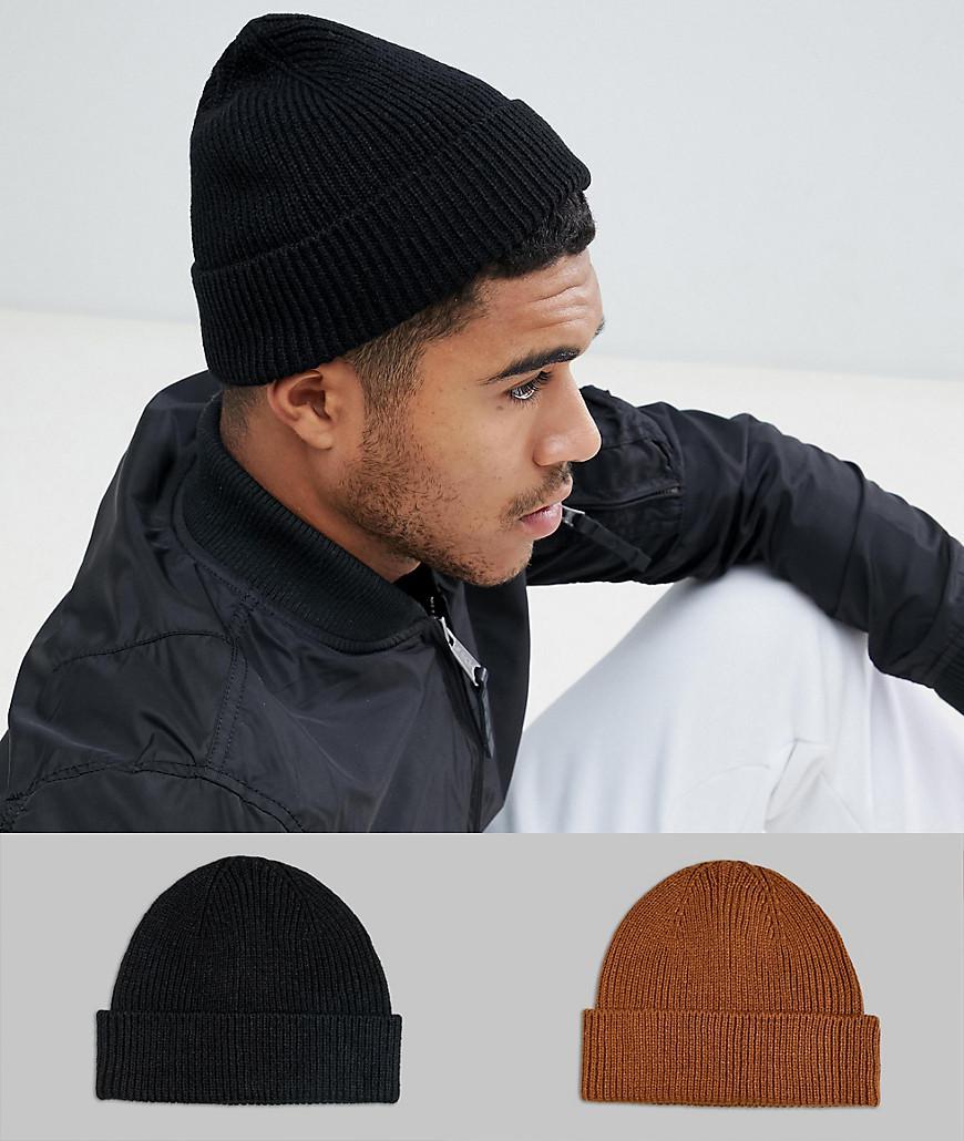 Lyst - Lot de 2 bonnet style pcheur Asos pour homme en coloris Noir 4e0fabbc7e0