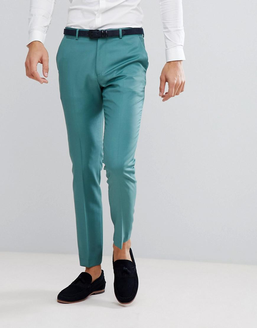 Lyst - Asos Wedding Slim Suit Trousers In Pine Green 100% Wool in ...