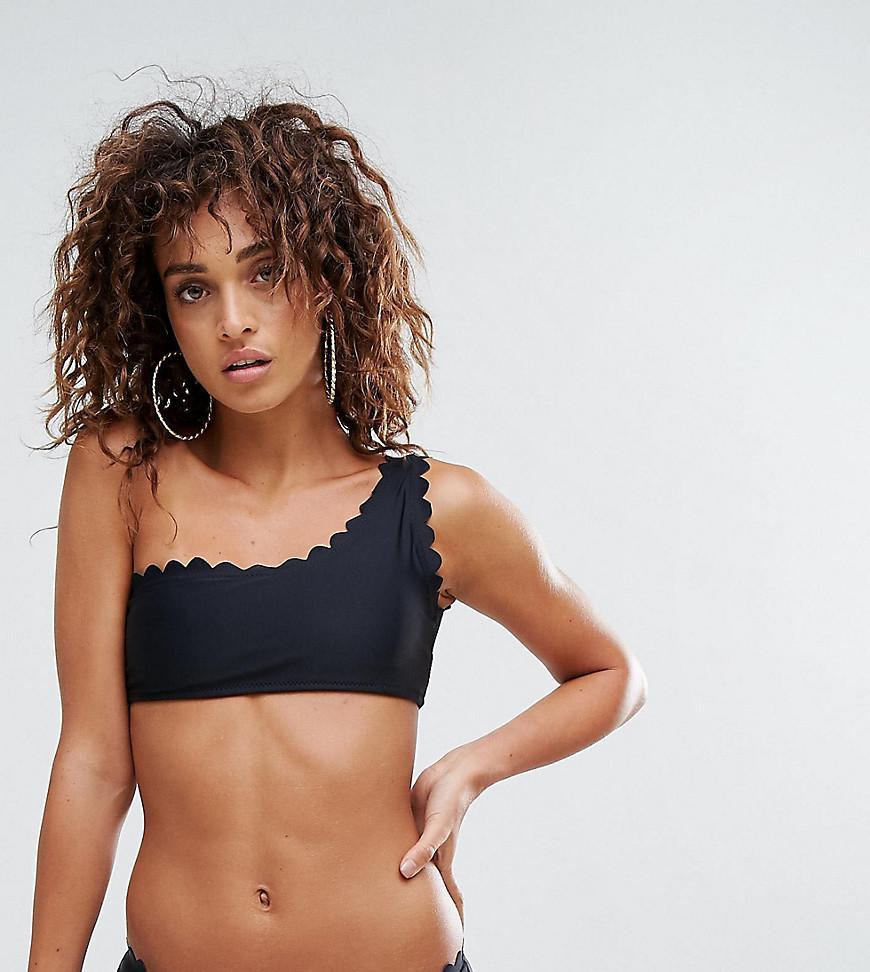 85378d236f323 Lyst - South Beach Scallop Edge One Shoulder Mix   Match Bikini Top ...
