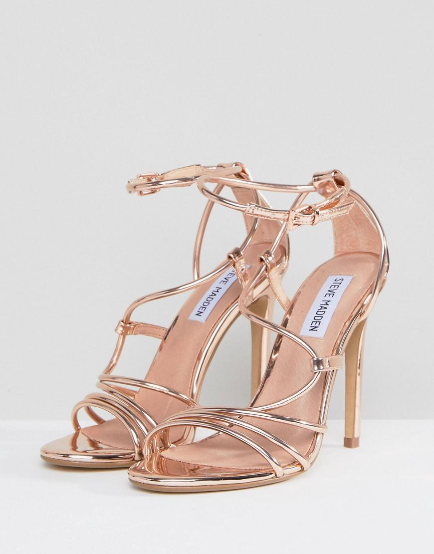 fcad1572664b Lyst - Steve Madden Smith Rose Gold Strappy Sandals in Metallic