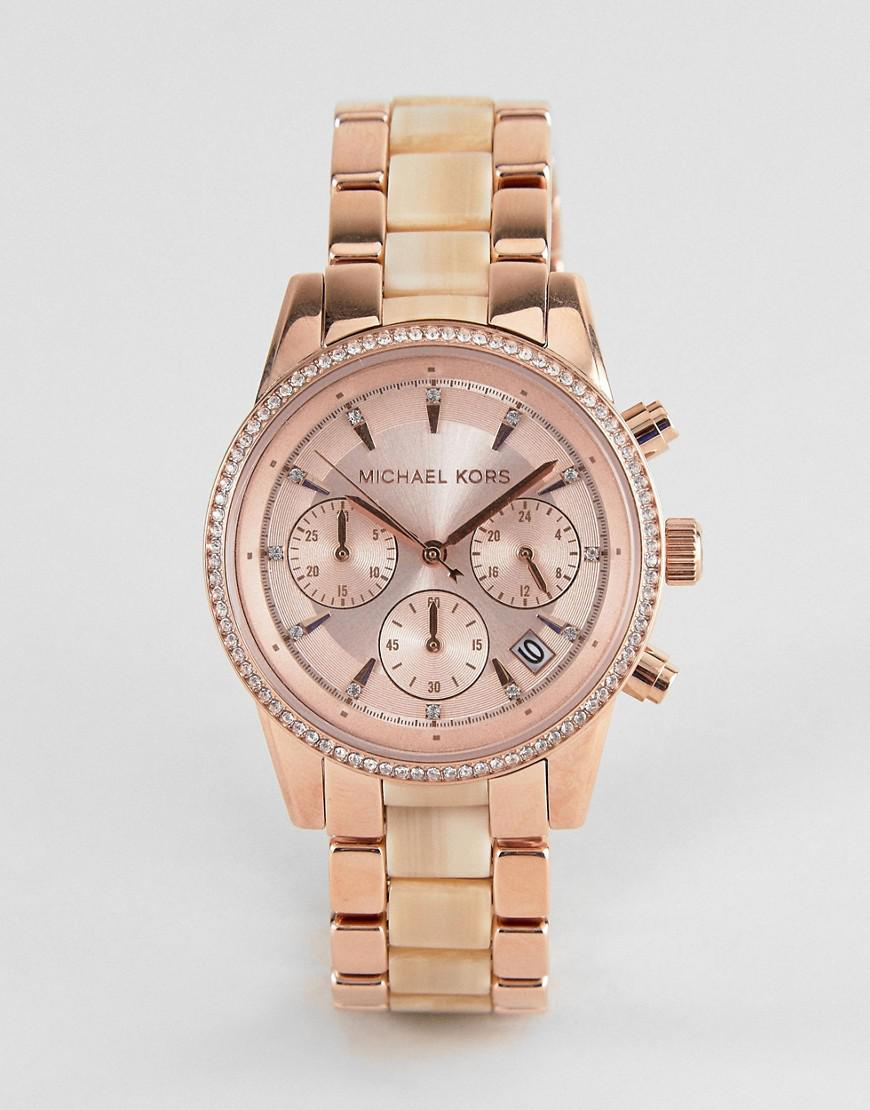 40572daecd67 Michael Kors Mk6493 Ritz Chronograph Bracelet Watch In Rose Gold in ...