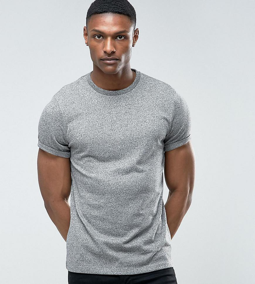 ASOS. Men's Gray Tall T-shirt With Roll Sleeve In Heavyweight Twisted Jersey