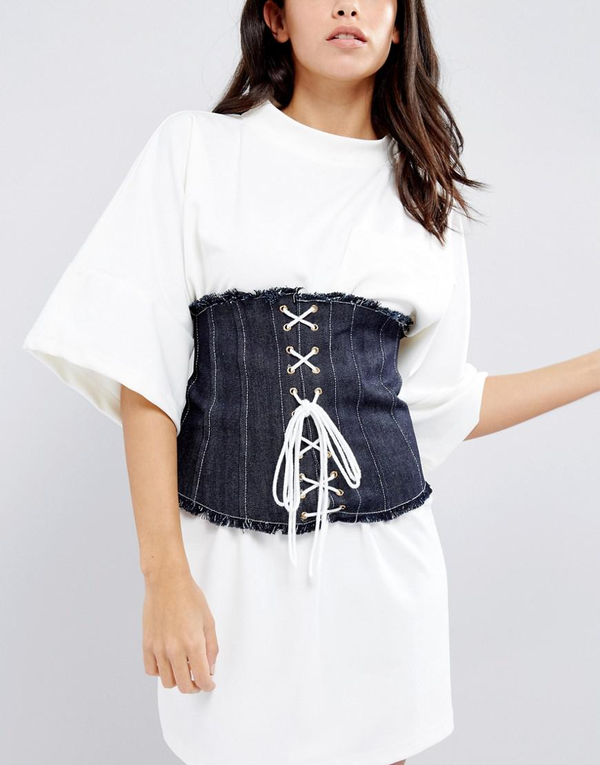 Patent Wide Corset Belt - White Asos yJ6MM