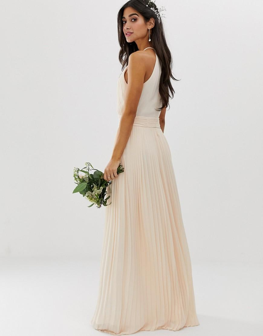 d92eaeade6c8 TFNC London Bridesmaid Exclusive High Neck Pleated Maxi Dress In Pearl Pink  in Pink - Lyst
