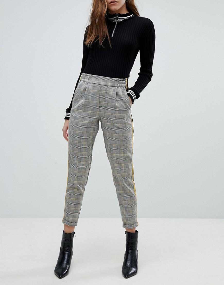 Check Trousers In Grey With Side Stripe - Grey Bershka Wiki For Sale 100% Guaranteed Online Clearance Best Fashion Style For Sale Cheap Official Site VK4tnmcmqv