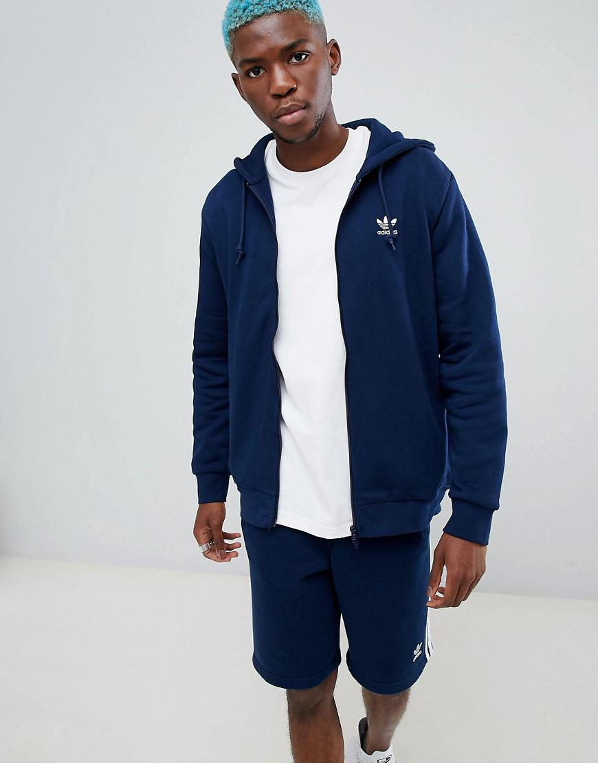 a54fb3e4eab6 Lyst - adidas Originals Trefoil Zip Through Hoodie In Navy Dn6013 in ...