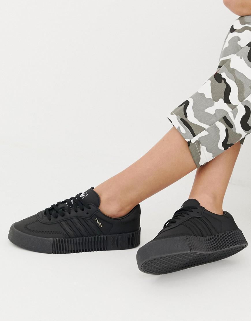 831445a86ea adidas Originals Samba Rose Sneakers In Triple Black in Black - Lyst