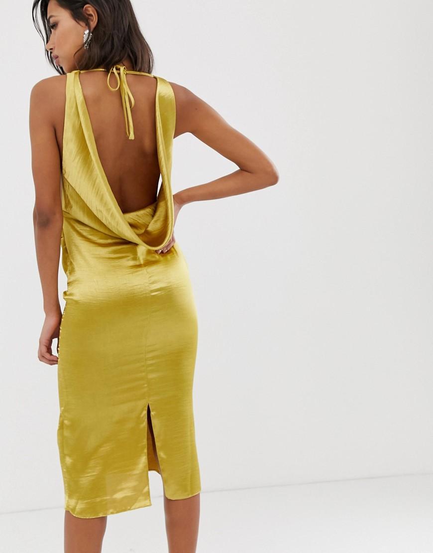 6cf3b34eed60bf ASOS Midi Dress With Drape Cowl Neck In High Shine Satin in Green - Lyst