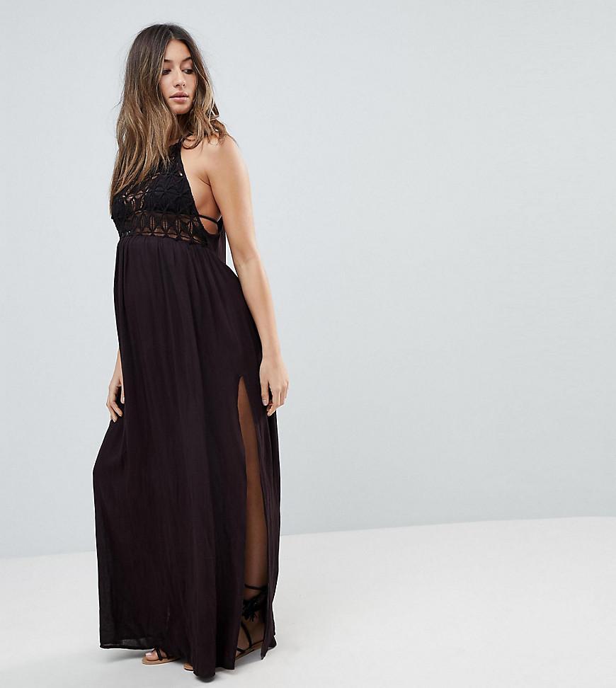 Premium Crochet Panel Maxi Beach Dress - Black Asos BPUZki7J