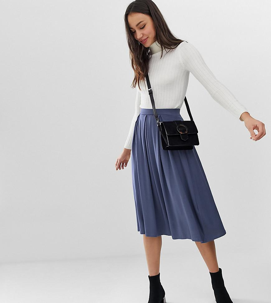 7ad1251e0142 ASOS Asos Design Tall Midi Skirt With Box Pleats in Blue - Lyst