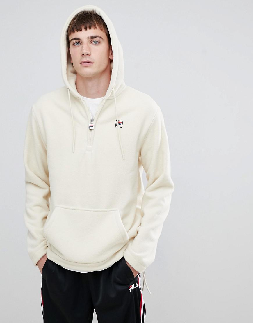 edb4f05e7ef5 Fila White Line Teddy Fleece Hoodie With Small Logo In White in White for  Men - Lyst