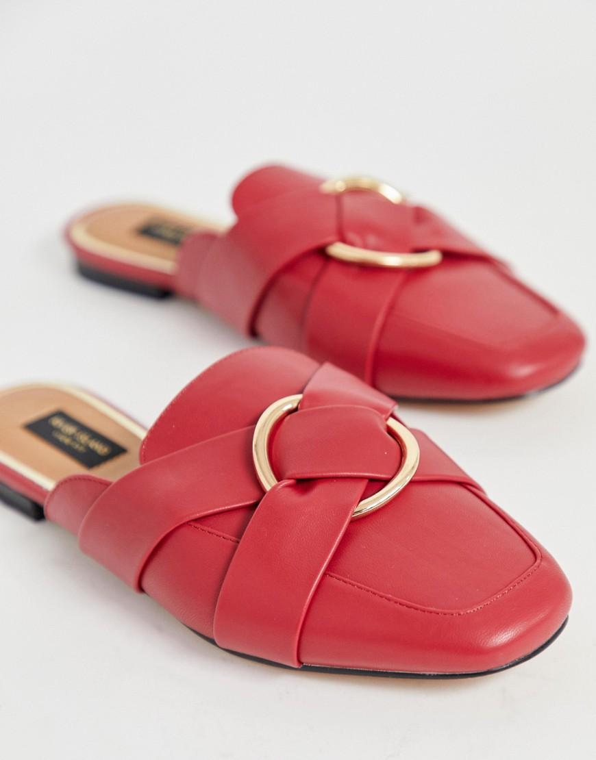 bafcf4d3e55 River Island Wide Fit Backless Loafers With Ring Detail In Red in Red - Lyst