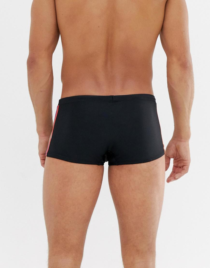 01b4815ba521f ASOS Swim Trunks With Rainbow Side Tape in Black for Men - Lyst