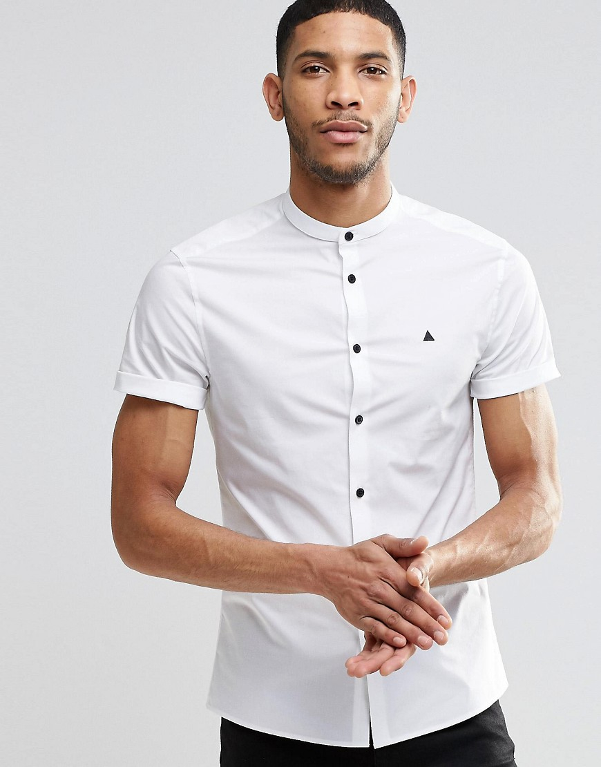 42da22ec3c41 Lyst - ASOS Skinny Shirt With Grandad Collar And Contrast Buttons ...