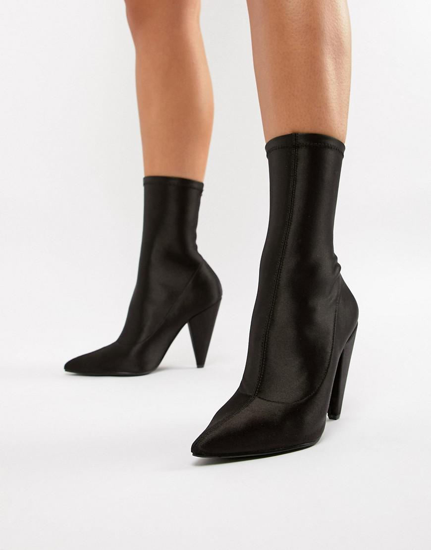 b1833a6a8ff Lyst - ASOS Elope Pointed Sock Boots in Black