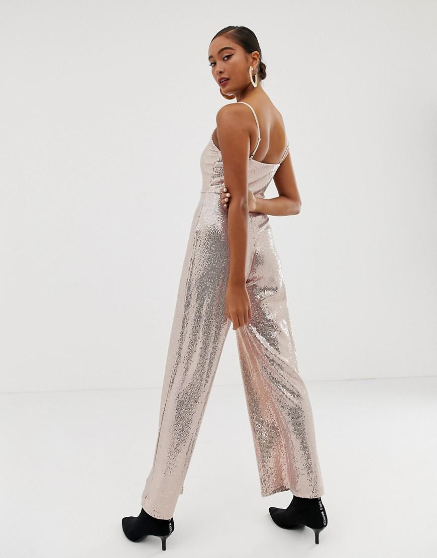 587a064e9309 Miss Selfridge Wide Leg Jumpsuit In Gold Sequin in Metallic - Lyst