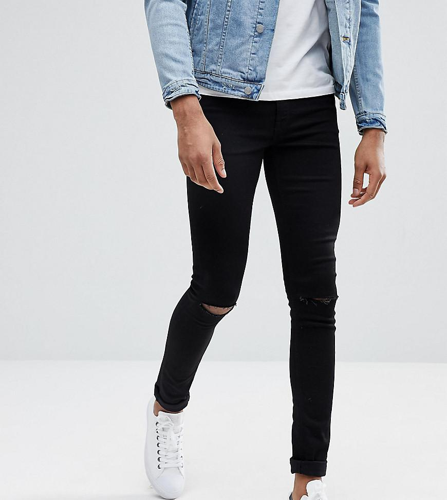 ASOS. Men's Tall Extreme Super Skinny Jeans In Black With Knee Rips