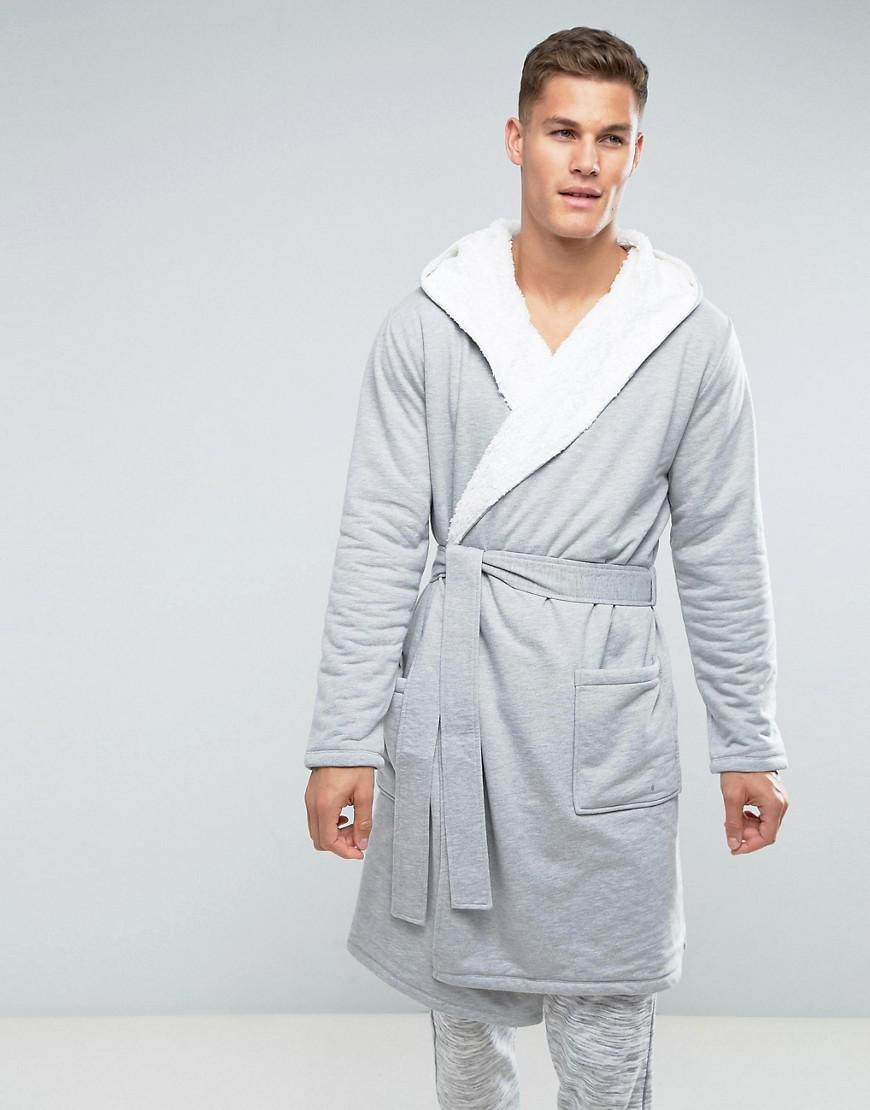 ASOS Dressing Gown With Borg Lining In Grey in Gray for Men - Lyst d1794d533