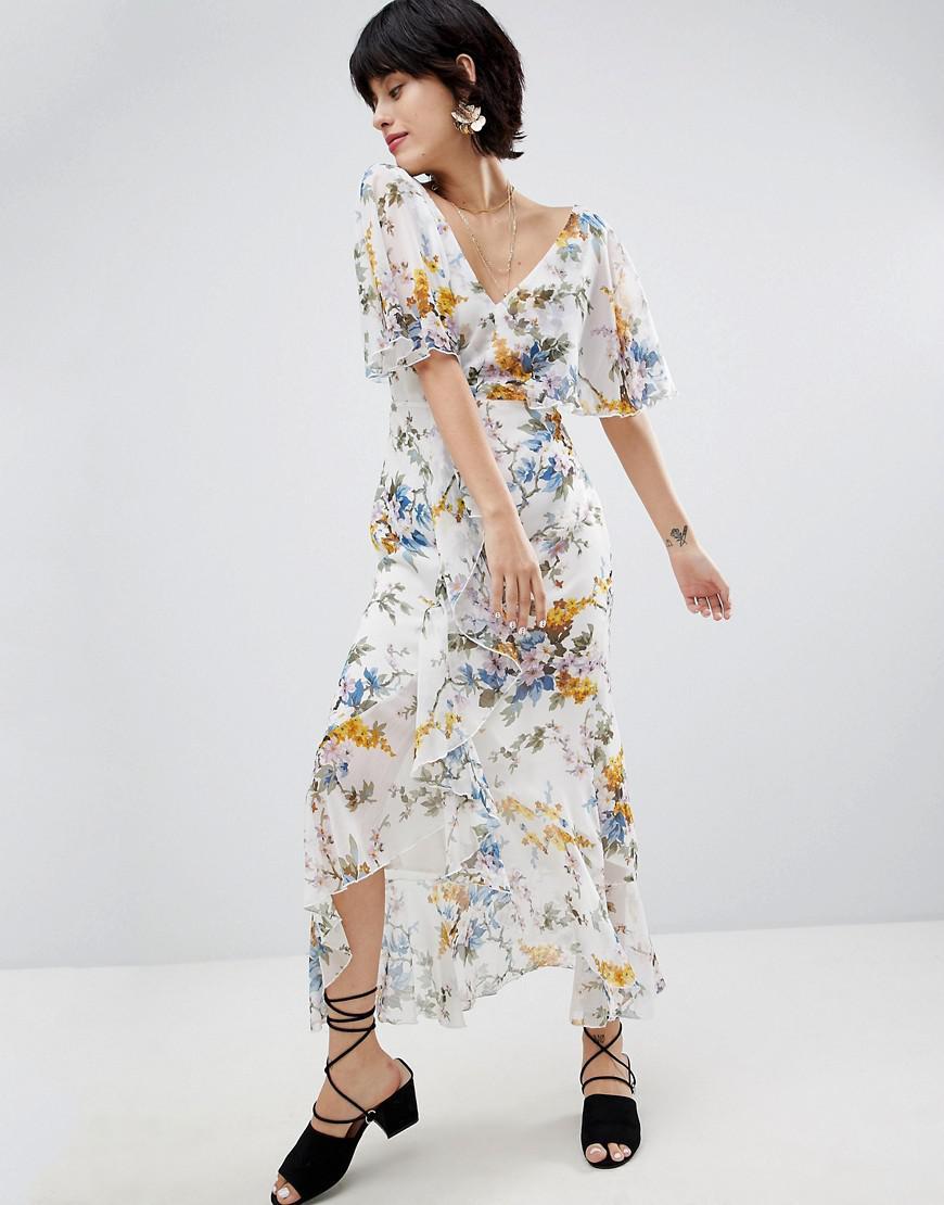 c99465c921e7 Warehouse Wrap Front Floral Midi Dress - Gomes Weine AG