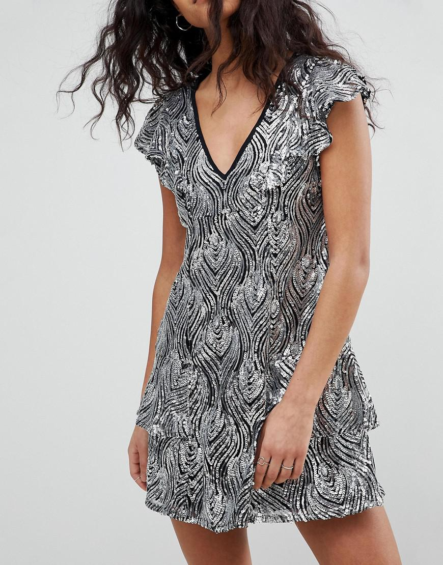 V Neck Dress In Sequin - Silver Religion Whole World Shipping 12GSH