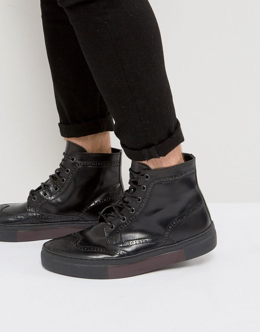 DESIGN Brogue Shoes In Black Faux Suede With Hybrid Sole - Black Asos yKRkYxdjr