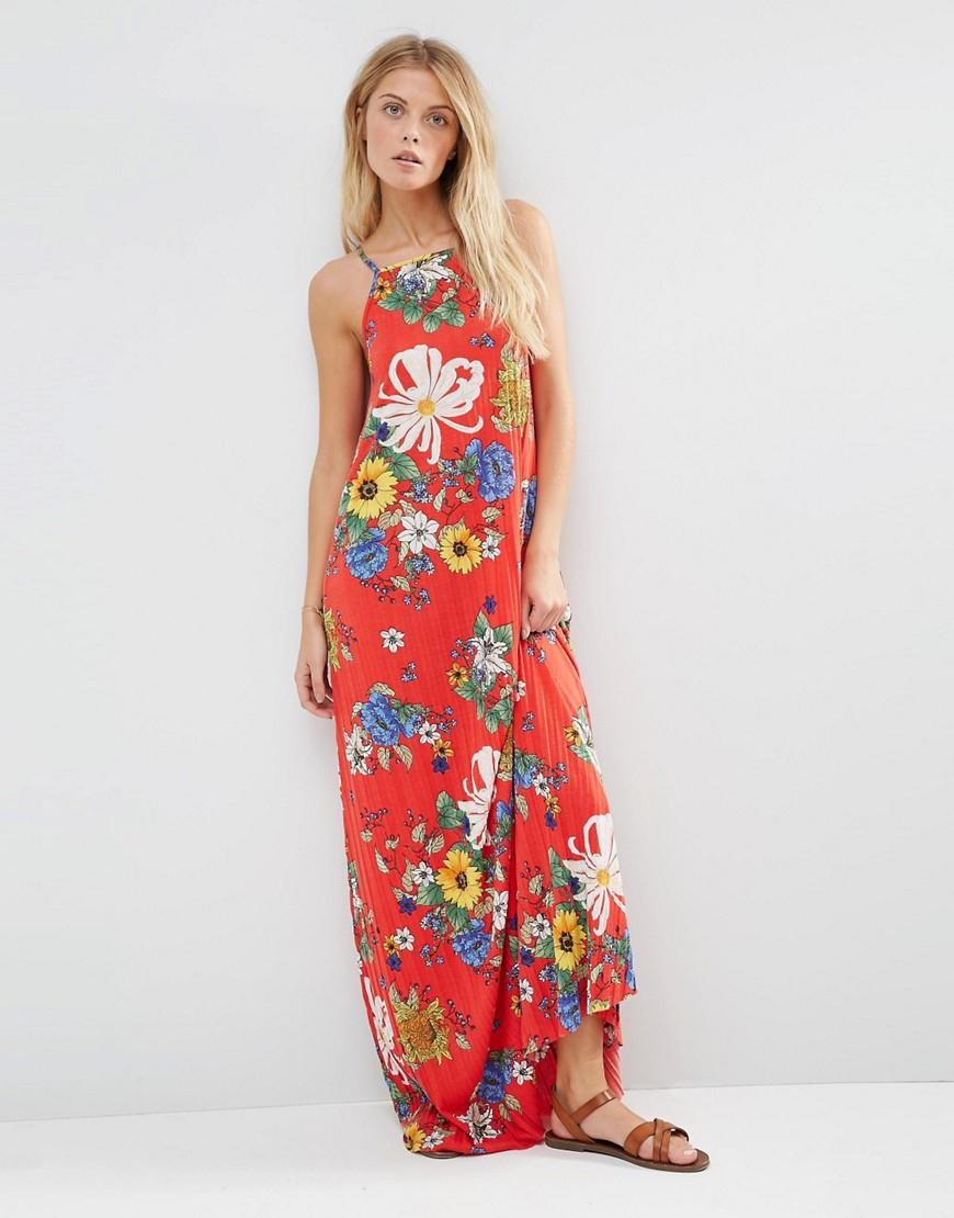 Lyst - Asos Pleated Cami Maxi Dress Red Floral Print in Red