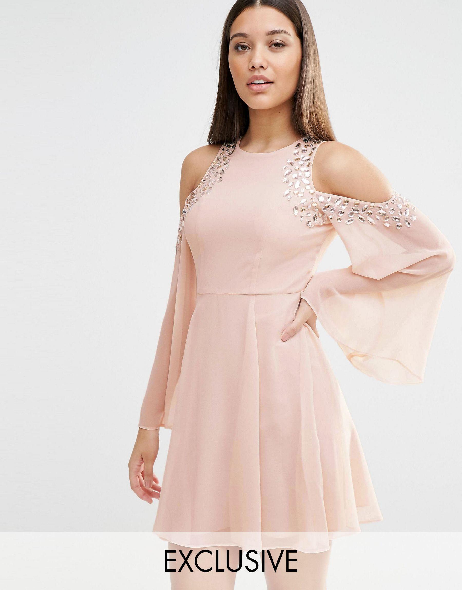 Lyst - Lipsy Cold Shoulder Embellished Swing Dress in Natural