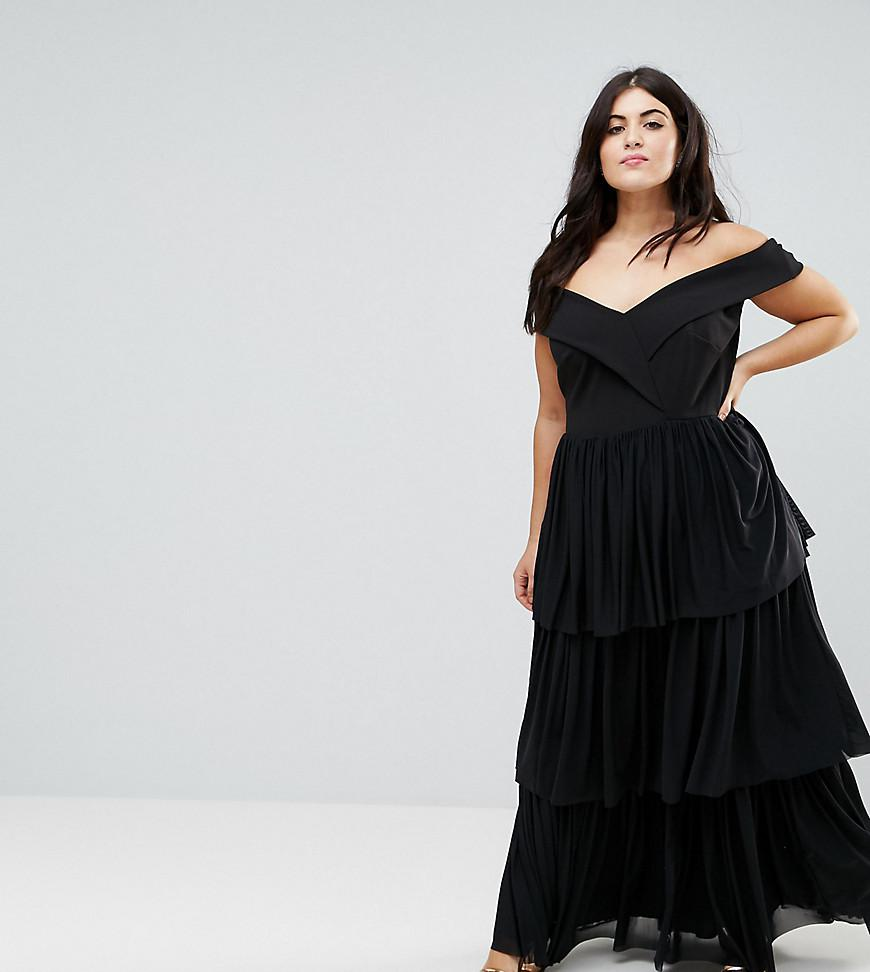 c8b882ec728 Lyst - Club L Plus Off The Shoulder Tiered Maxi Dress in Black