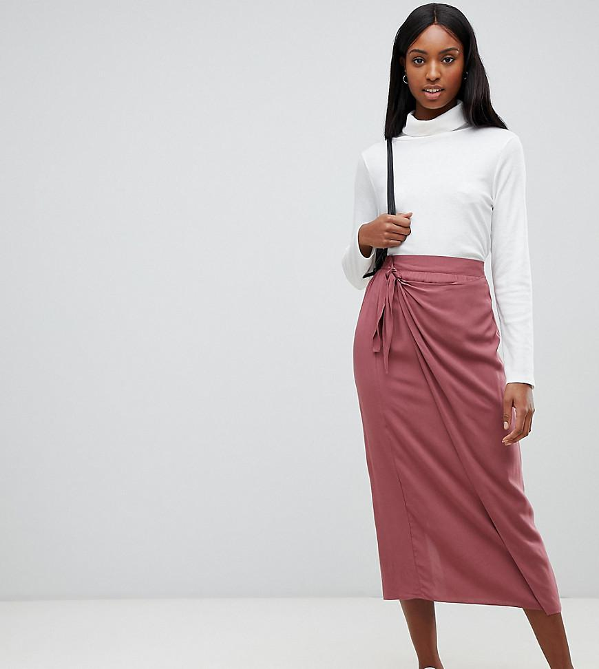 a372415697 ASOS. Women's Pink Asos Design Tall Wrap Front Midi Skirt With Tie Front