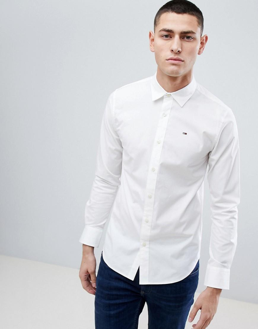 56af6879b68c Lyst - Tommy Hilfiger Slim Fit Stretch Shirt In White in White for Men
