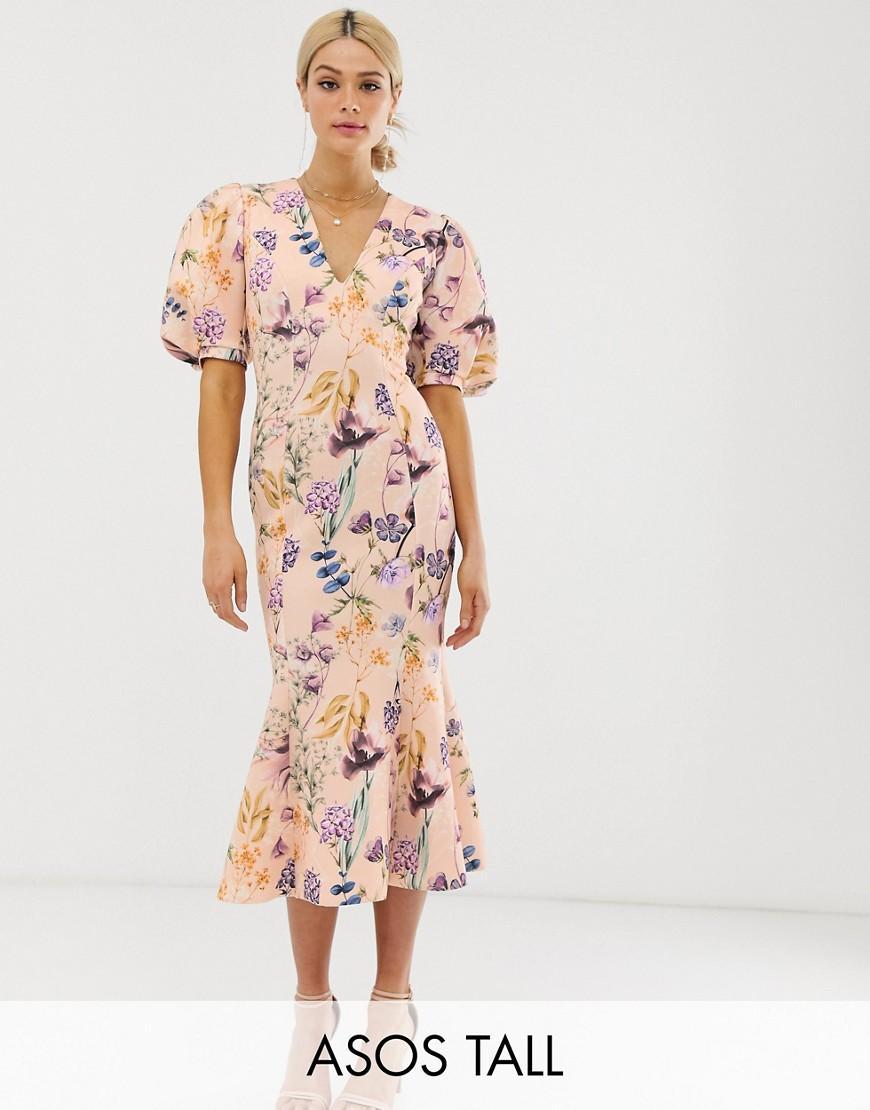 abe7bd95f33f0 ASOS. Women's Pink Asos Design Tall Botanical Floral Bubble Sleeve Seamed Midi  Dress