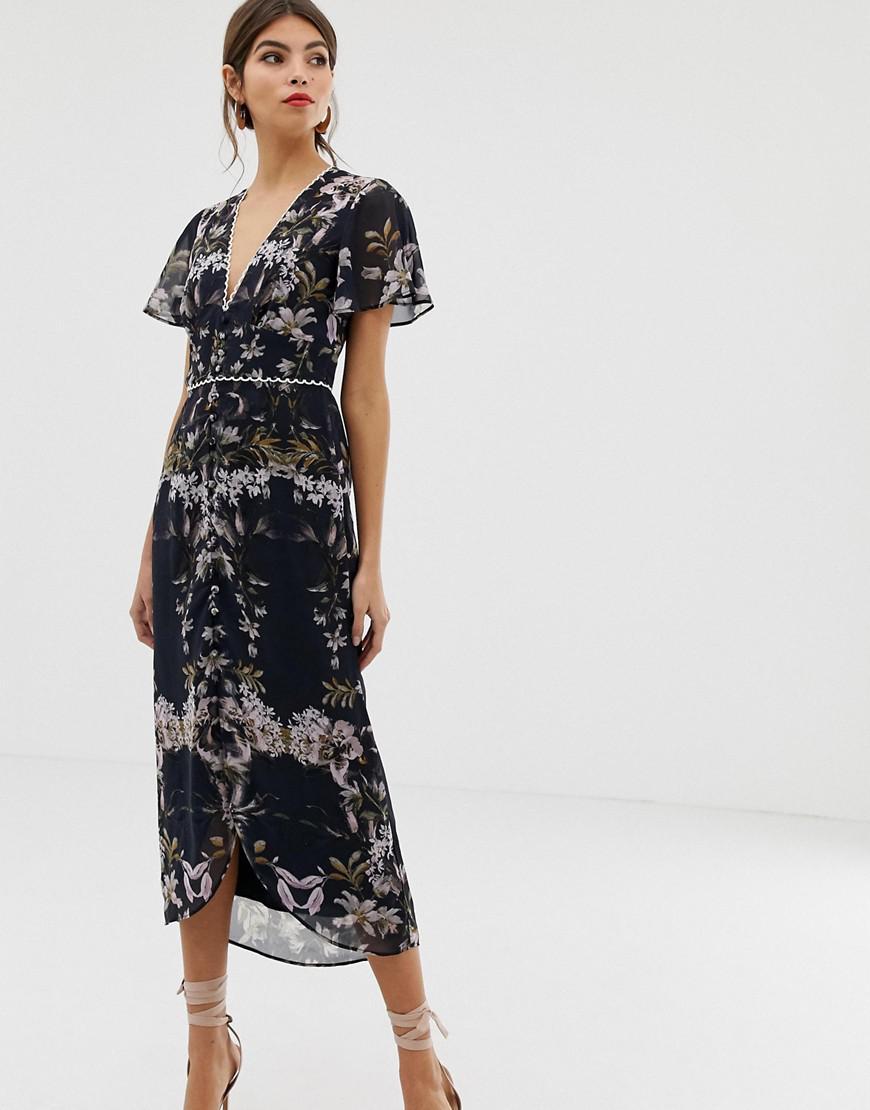 bf47ec28151 Hope and Ivy Hope & Ivy Mirror Print Midi Dress in Blue - Lyst