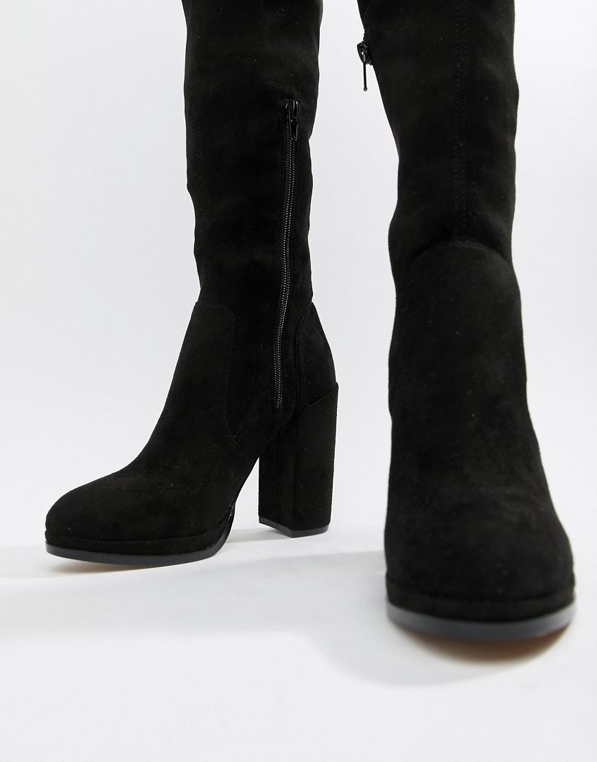 64ecd612417 Lyst - ASOS Wide Leg Kassidy Heeled Thigh High Boots in Black