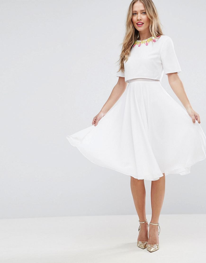 Lyst - ASOS 3d Embellished Crop Top Midi Skater Dress in White 3bd25e494